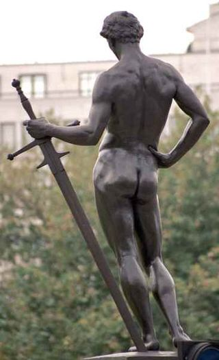 Naked statue with sword