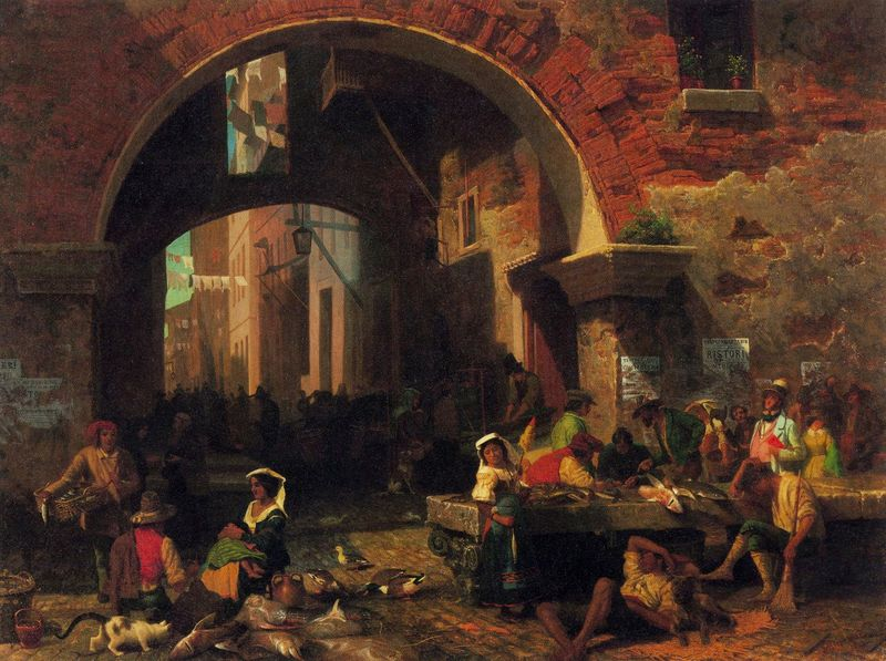 The Arc of Octavius, Roman Fish market by Bierstadt